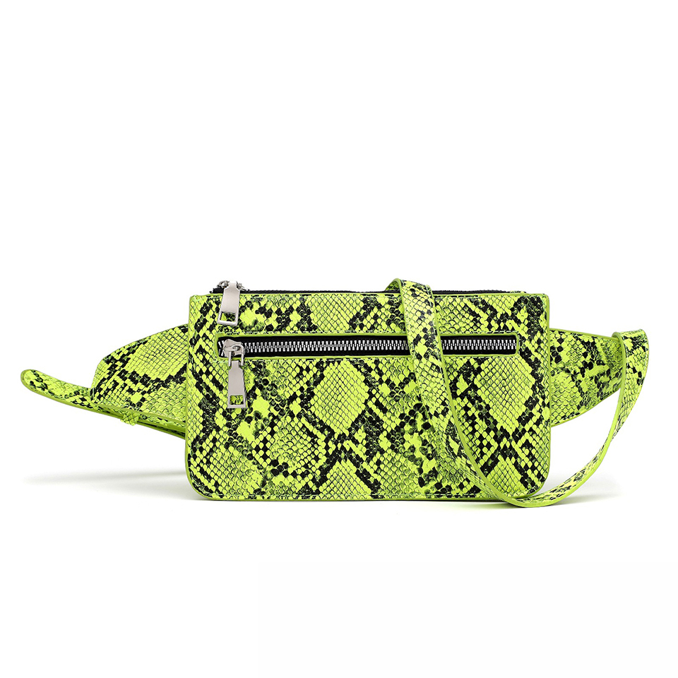 Women Waist Packs Neon Green Pink Ladies Casual Crossbody Bags Snake Skin Shoulder Messenger Handbags PU Leather Phone Pouch