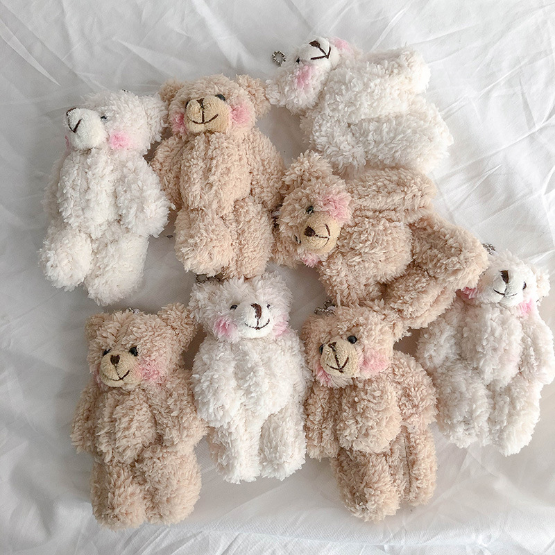 1 Pair 11.5cm Floral Cloth Teddy Bear Rabbit Bunny Dolls Key Bag Pendants Couple Bear Rabbit Plush Keychain Lovers Friends Gift