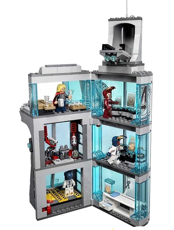 511Pcs Star Wars Marvel Super Hero Iron Man Attack on Avengers League Tower Model Building Blocks Copmatible Legoinglys Starwars