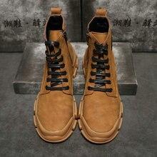 Новинка года; осенние модные мужские ботильоны в винтажном стиле «Челси»; нескользящая повседневная обувь для улицы; senaker; мужская обувь с высоким берцем; ботинки; PP-27
