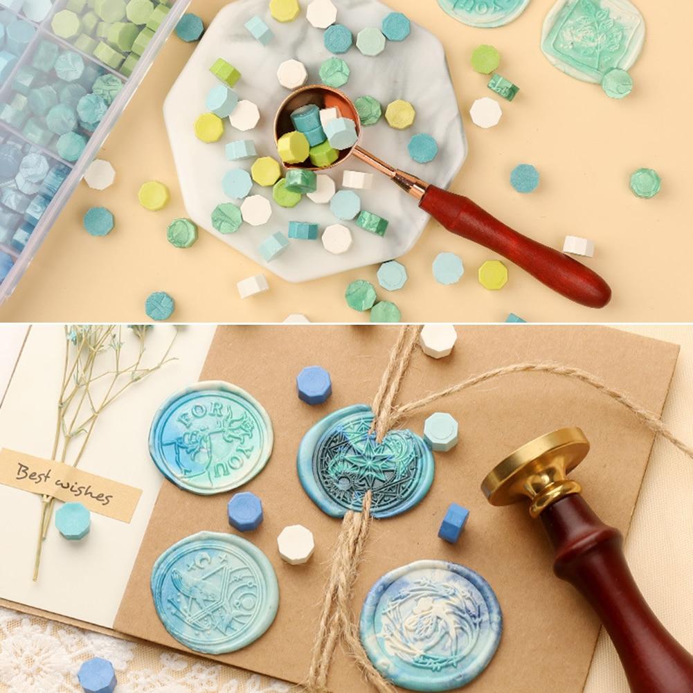 100pcs Vintage Octagonal Mixing Color Granular Sealing Wax Beads DIY Craft Envelope Wedding Postcard Wax Seal Stamp Tablet Pill