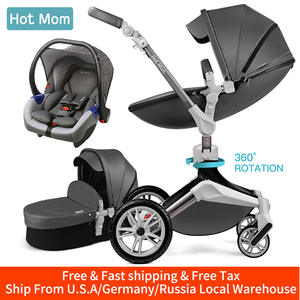 Hot Mom Baby Stroller 3 in 1 travel system with bassinet and car seat,360° Rotation