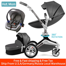 Hot Mom Baby Stroller 3 in 1 travel system with bassinet and car seat,360° Ro