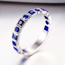 S925 Серебро Простой Строки Бриллиант Сапфир Обручальное Кольцо Свадебный Подарок Ювелирные Изделия