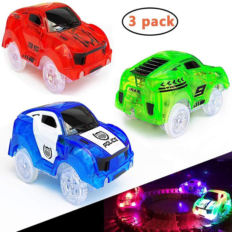 Glow Track Cars With 5 LED Lights, 3 Pack Replacement Race Cars Compatible With Dinosaur Tracks And Magic Tracks