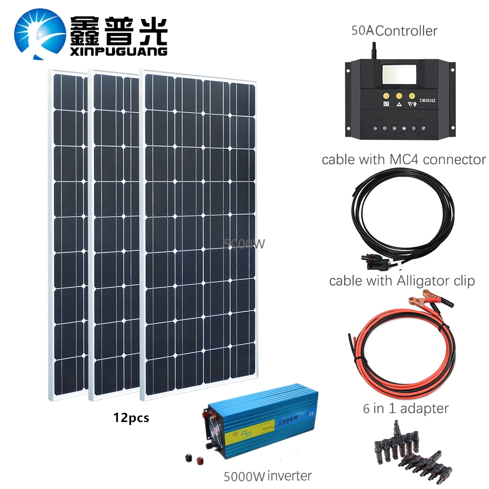 100w Mono <font><b>solar</b></font> <font><b>panel</b></font> 12000w <font><b>solar</b></font> kits charge with <font><b>5000w</b></font> Pure Sine Wave inverter 50A controller for 12v /24v battery Panneau image
