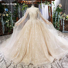HTL662 luxury ball gown wedding dresses cathedral train shawl illusion appliques sequined appliques bridal gowns vestidos novia(China)