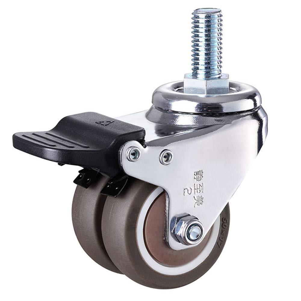 4 pçs/set 2 heavy rodízio de borracha resistente haste giratória rodas m12 x 25mm travamento rodízios rodízios substituição para móveis-1