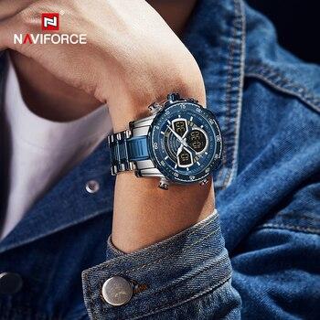 NAVIFORCE Mens Military Sports Waterproof Watches Luxury Analog Quartz Digital Wrist Watch for Men Bright Backlight Gold Watches 6