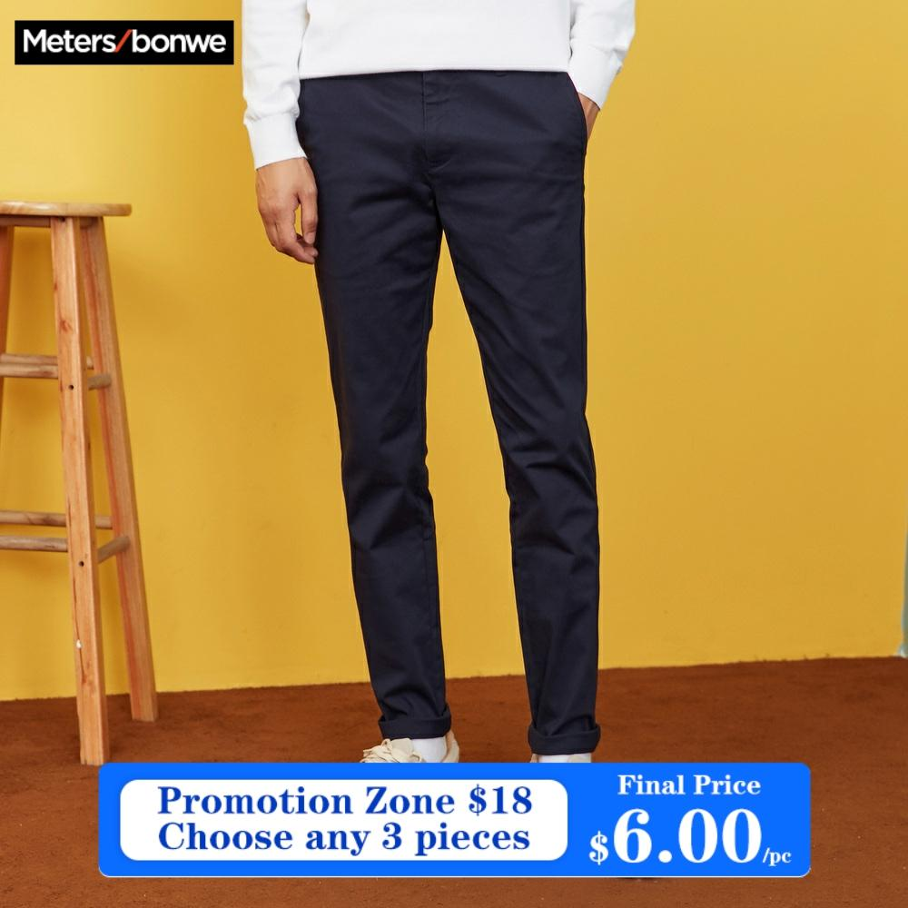 METERSBONWE Men Pants Spring Autumn Wild Slim Fit Chinos Fashion Male Brand Trousers