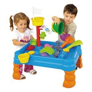 Çocuk plaj su masa oyuncak seti kum ve su masa sulama kovası & Spade çocuklar açık bahçe Sandpit oyuncak seti çocuklar için hediyeler