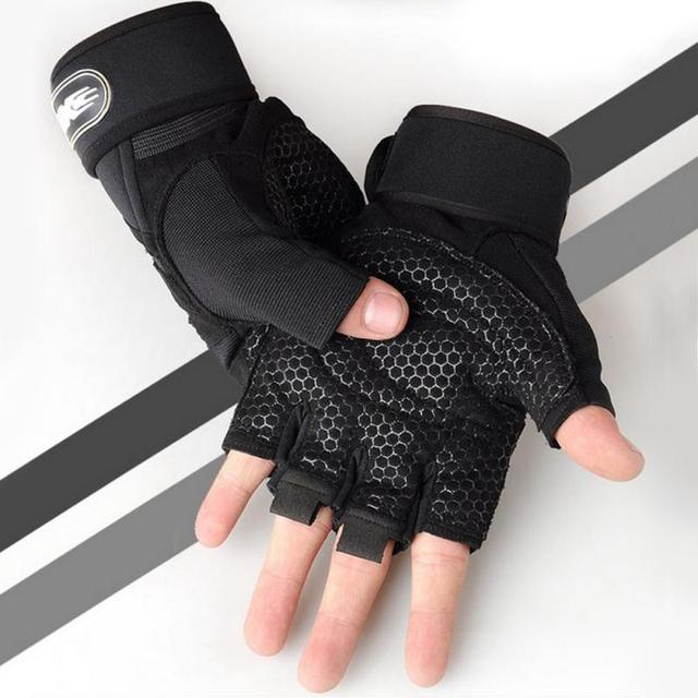 1 par prático esportes fitness antiderrapante respirável metade dedo luvas de esportes ao ar livre anti-suor ciclismo luva 2