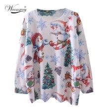 Рождественский женский свитер 2021 модный вязаный с принтом