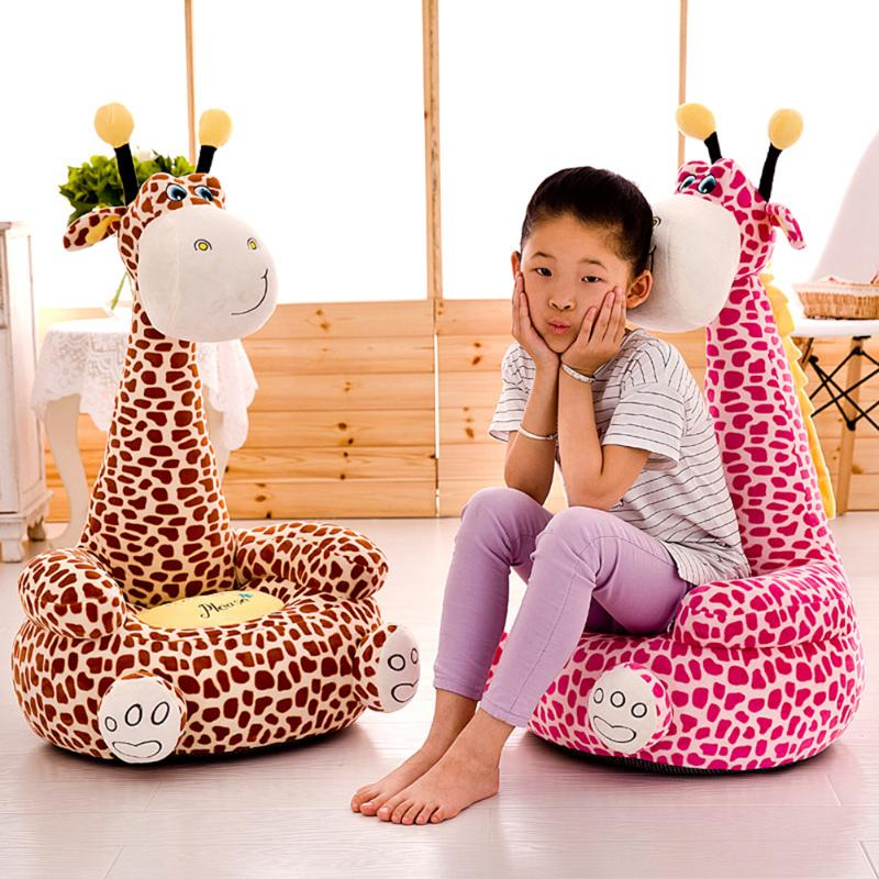 Cartoon Giraffe Baby Sofa Seat Cover Convenient Practical User-friendly Design Toddler Sit Support Chair Case With Filler