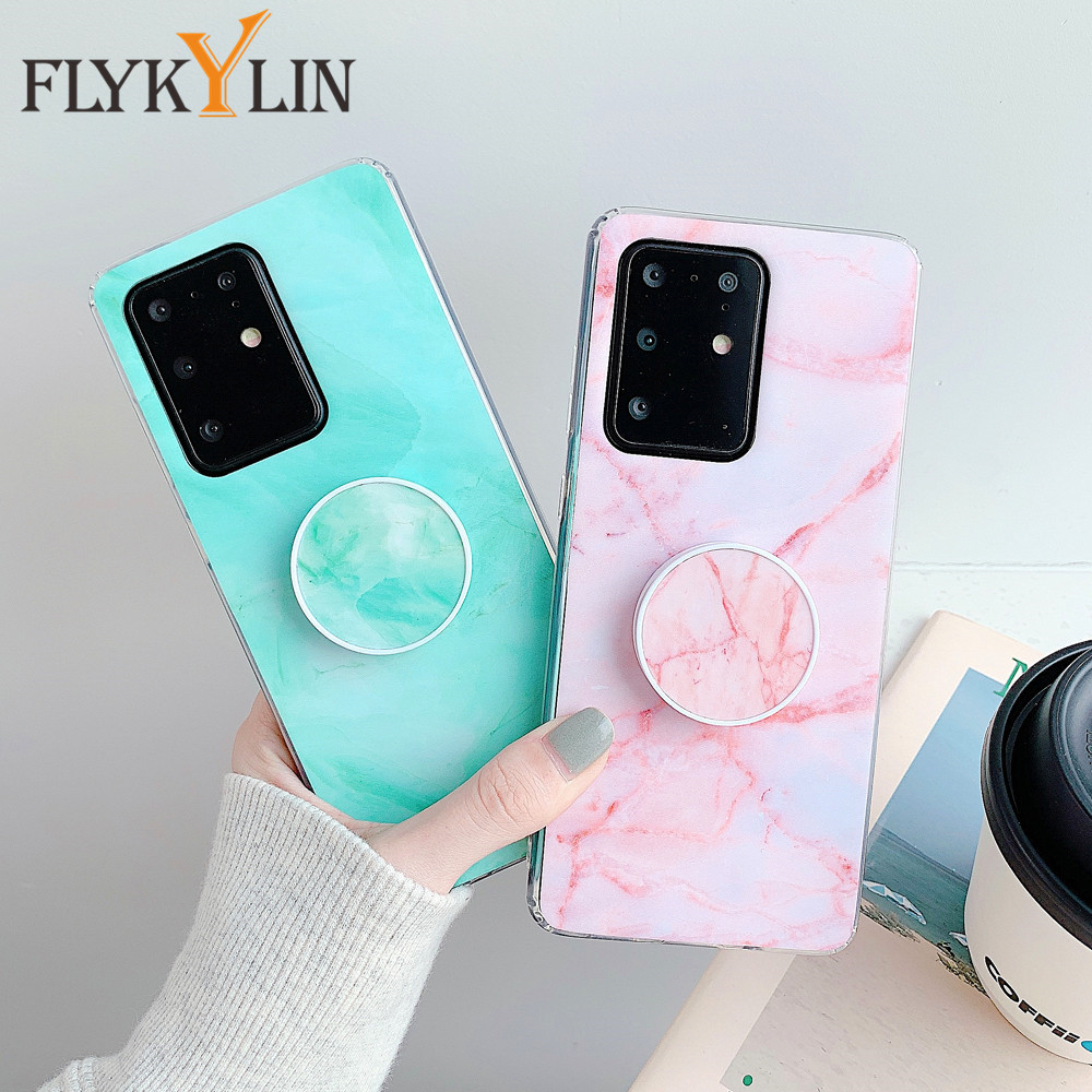 FLYKYLIN подставка держатель мраморный чехол для Samsung Галактики A50 A70 A10 A20 A30 A90 5G A6 A7 A9 2018 A30S A50S Мягкий силиконовый чехол для телефона