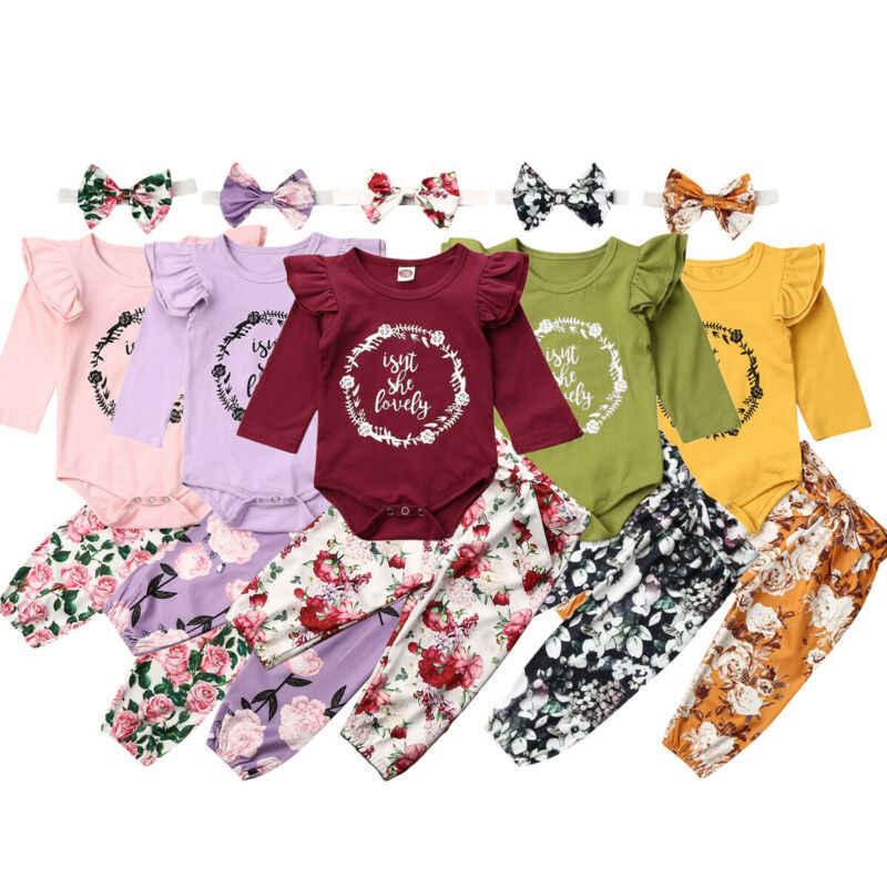 3Pcs//Set Newborn Suit Outfits,Baby Girls Letter Romper Jumpsuit Skirt Hairband Clothes