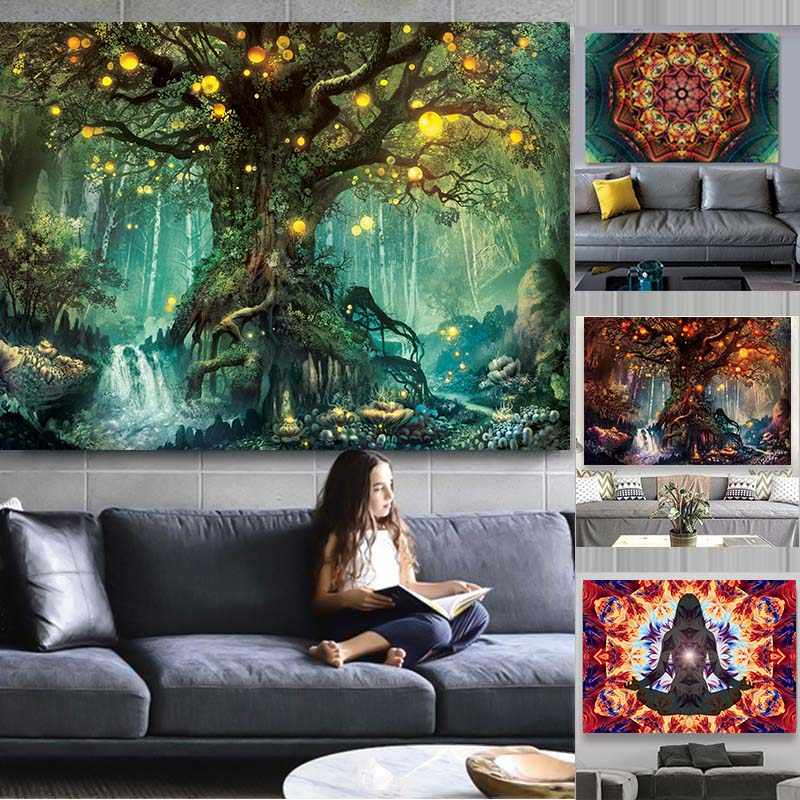 Indian Mandala Tapestry Wall Art Poster Colorful Tapestries Wall Canvas Painting Hippie Chakra Tapestry Wall Art Pictures