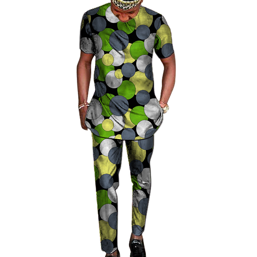 African Print Shirt+pant Men's Set Clothing Kente Shirt Top Matching Trouser 2 Pieces Ankara Outfits Man Wedding Wear Customized