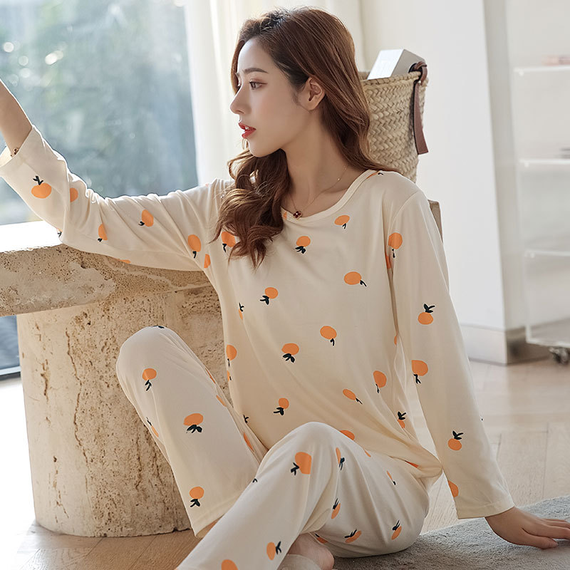 Huan Xin Ya New Products-Style Simple GIRL'S Long Sleeve Crew Neck Pajamas Korean-style Summer Wearable Ladies Home Leisure Suit