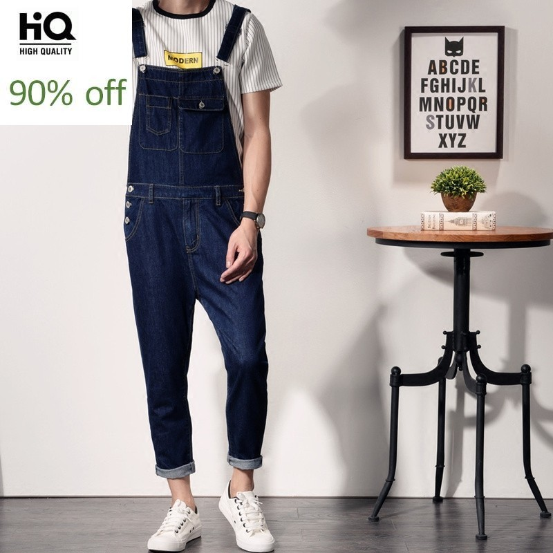 Large Size Mens Jumpsuits 2020 Summer Hot Fashion Streetwear Casual Pencil Pants Mid Waist Pockets Loose Fit Denim Overalls Male