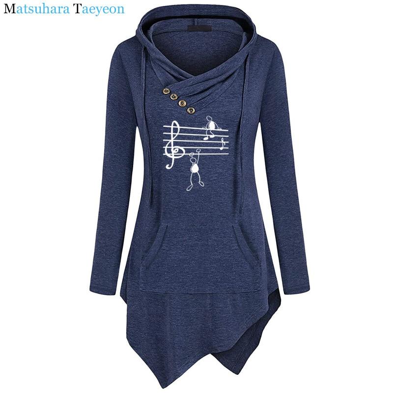 2019 New Music Notes Funny Print Hoodie Women Summer Style Cotton Long Sleeve Sweatshirt Hoodies Funny Irregular Clothing 2