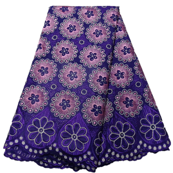 New design Hot Sale Nigerian Lace Fabric Fashion African cotton Swiss Voile Lace In Switzerland High Quality Lace with Stones