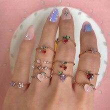 11 шт./компл. кольца для женщин с милыми кристаллами, яблоко, клубника, вишня, виноград, бабочки, набор милых золотых колец с фруктами, ювелирны...