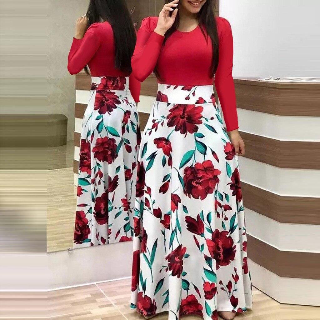 winter dress women casual rose print Fashion Women Long Sleeve Floral Boho Print Long Dress Ladies Casual Dress#3