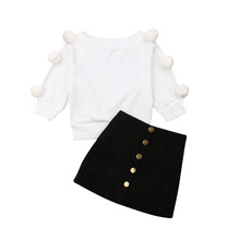 1-6Years Toddler Baby Kid Girls Clothing Set Pom Sweaters Tops + Skirts  Autumn Winter Costumes