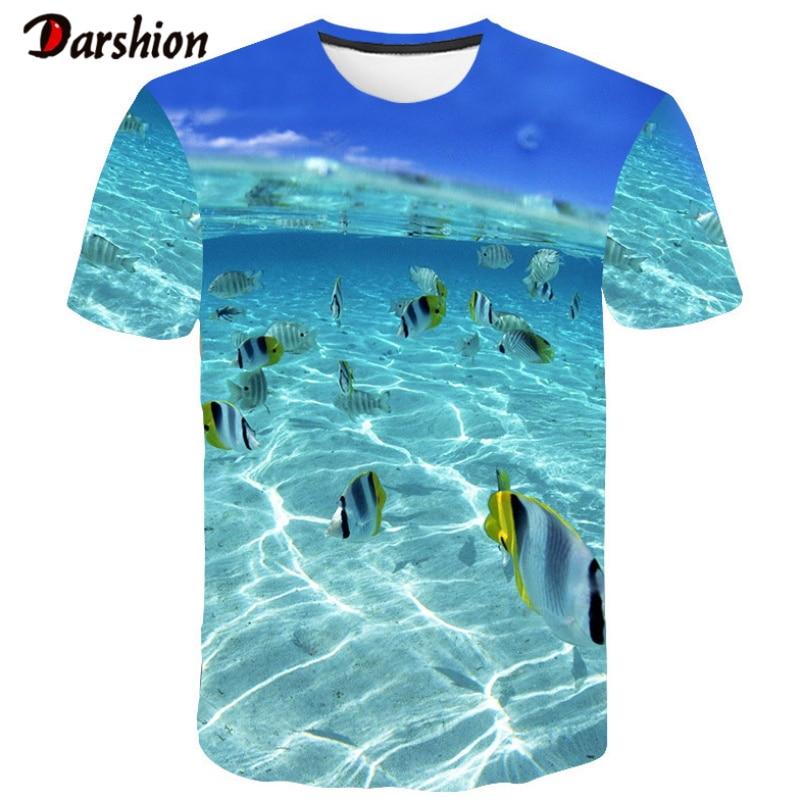 Men T-shirt Leisure Fish Printing 3D T-shirts Men Funny Short Sleeves Tracksuits 3D T Shirt DIY Customization Funny Fish Printed