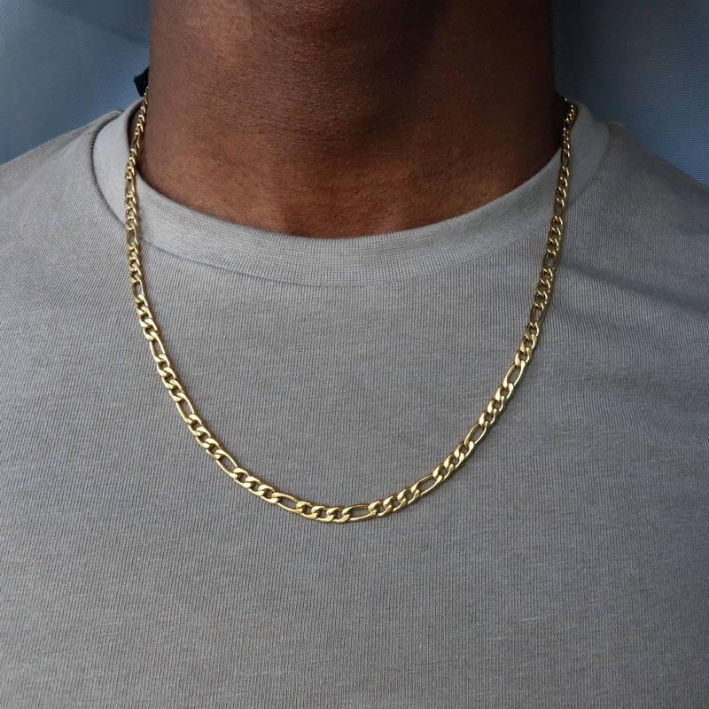 2020 di modo di Nuovo Figaro Collana A Catena Degli Uomini Dell'acciaio Inossidabile di Colore Dell'oro Collana Lunga Per Gli Uomini del Regalo Dei Monili Del Collare Hombres 1