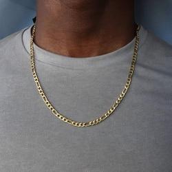 Цепочка Фигаро Мужская, из нержавеющей стали, золотого цвета, длинное ожерелье для мужчин, ювелирные изделия, подарок, Hombres 2020