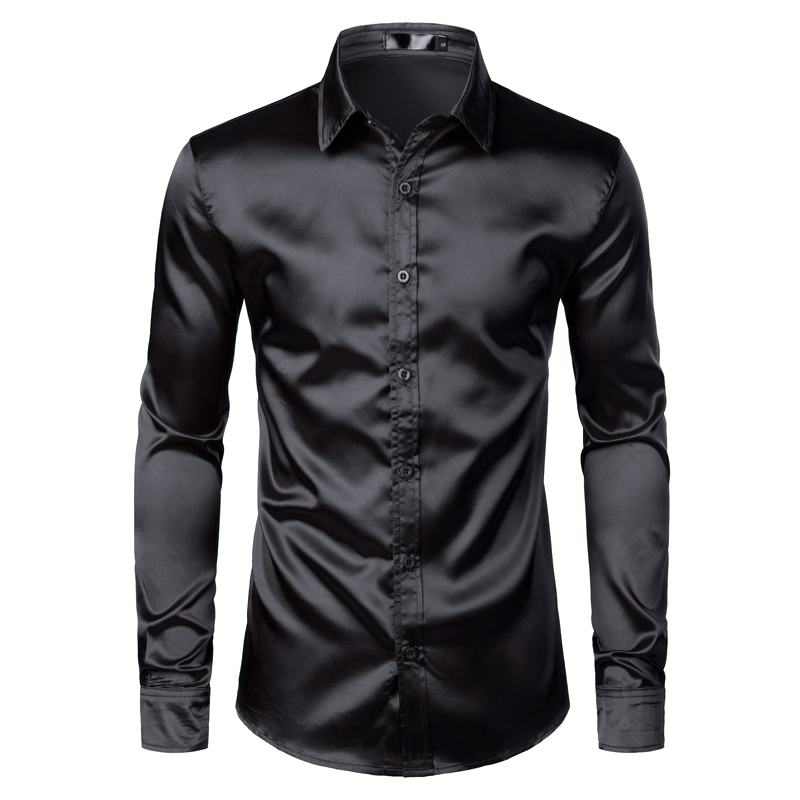 H6320a44716bf43e0a98c3fe5db6fdfd6M Men's Black Satin Luxury Dress Shirts 2020 Silk Smooth Men Tuxedo Shirt Slim Fit Wedding Party Prom Casual Shirt Chemise Homme