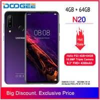 DOOGEE N20 nouveau 2019 Smartphone 6.3 pouces FHD + affichage 4350mAh 4GB + 64GB Octa Core 10w charge empreinte digitale 16MP Triple caméra arrière