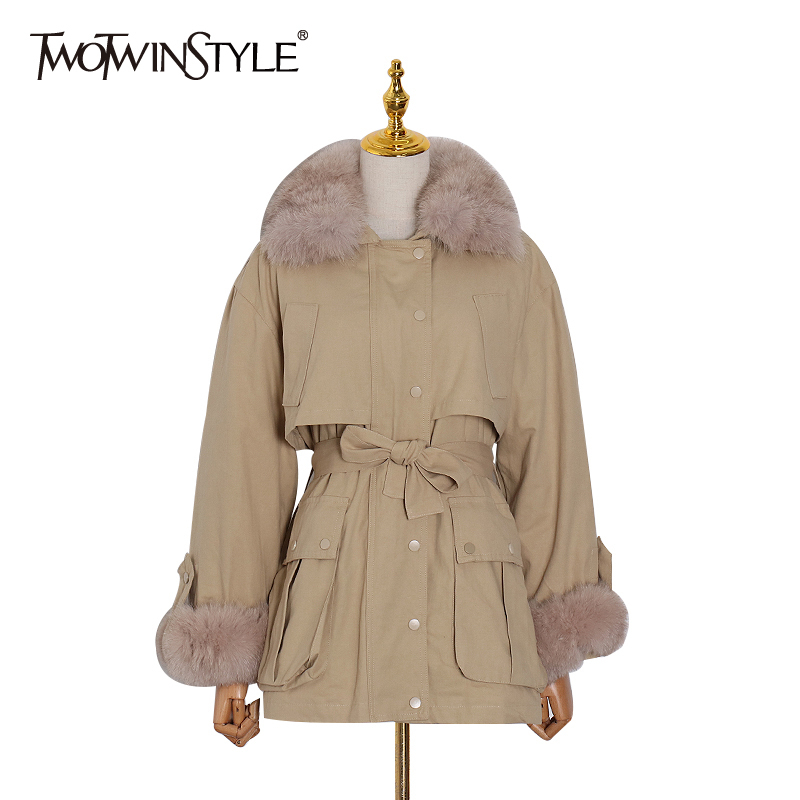 TWOTWINSTYLE Bowknot Patchwork Fur Windbreaker For Women Lapel Collar Long Sleeve High Waist Female Trench Coats 2020 Spring New