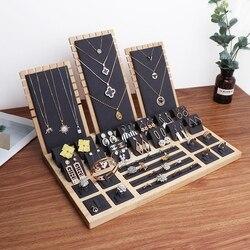 High Quality Bamboo Velvet Jewelry Display Earring Display Stand Ear Stud Earrings Holder Rack Storage Case