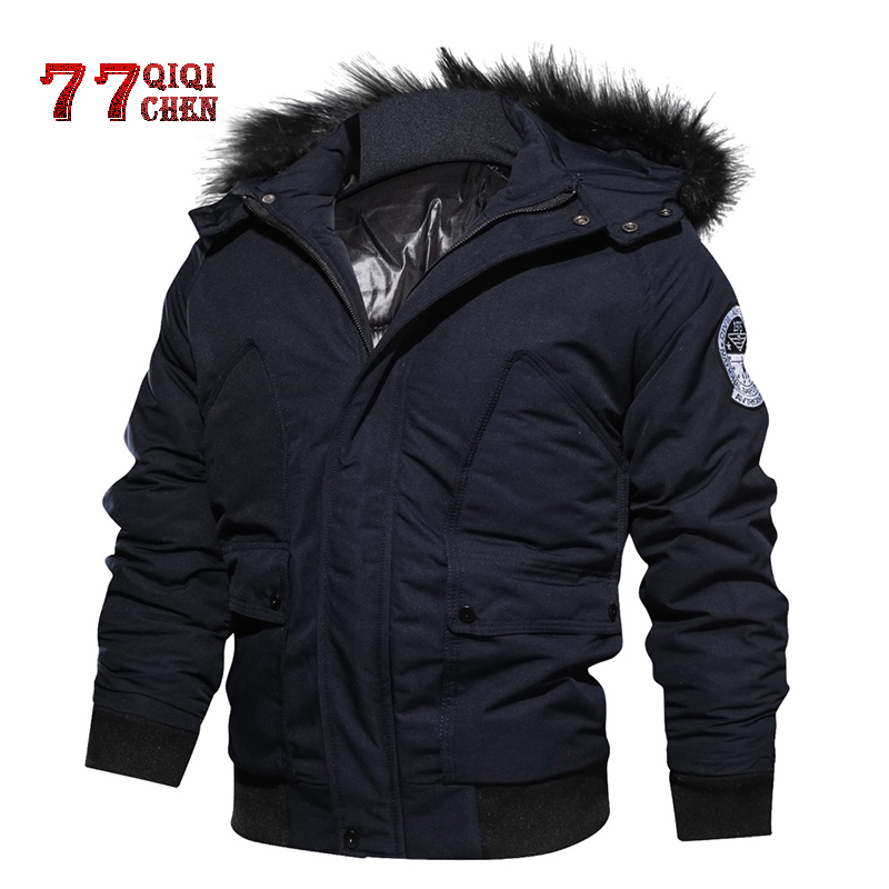 Pilot Jacket Bomber Mens Military Coat Parkas Hooded Army Winter Casual Fur Thick Cotton