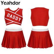 2Pcs Frauen Erwachsene Charming Cheerleader Uniform Set Bühne Cosplay Kostüm Rundhals Ärmel Crop Top mit Mini Plissee Rock