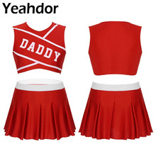 2Pcs Women Adult Charming Cheerleader Uniform Set Stage Cosplay Costume Round Neck Sleeveless Crop Top with Mini Pleated Skirt