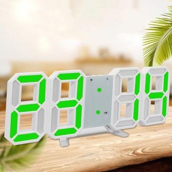 1 * reloj LED gran pared Digital de escritorio despertador reloj moderno 3D 12/24 hora pantalla 2019 nuevo termómetro de moda despierta