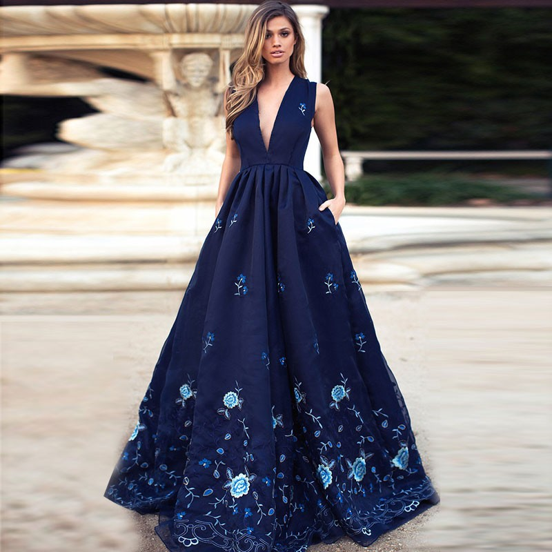 A-Line V-Neck Elegant Prom Dresses Floral Printed Evening Dresses with Pockets Long Custom made Formal Gowns robe soiree dubai