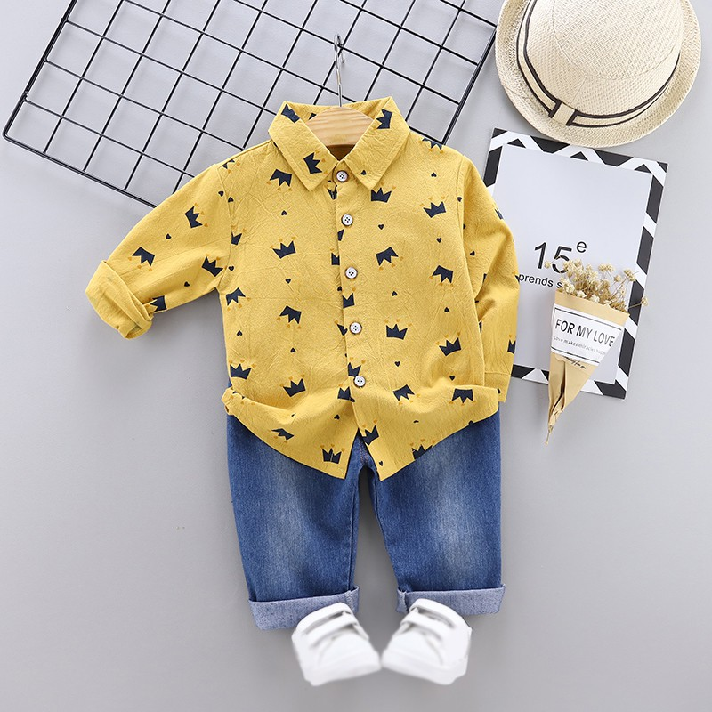Toddler Boys Clothes Autumn Clothing Kids Costume Baby Boys Casual Long Sleeve Crown Print Blouse Tops Denim Pants Trouser Sets in Clothing Sets from Mother Kids