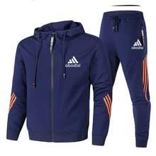 Nova primavera e outono marca de moda masculina de duas peças listrado roupas esportivas com capuz superior calças esportivas ao ar livre terno de pista