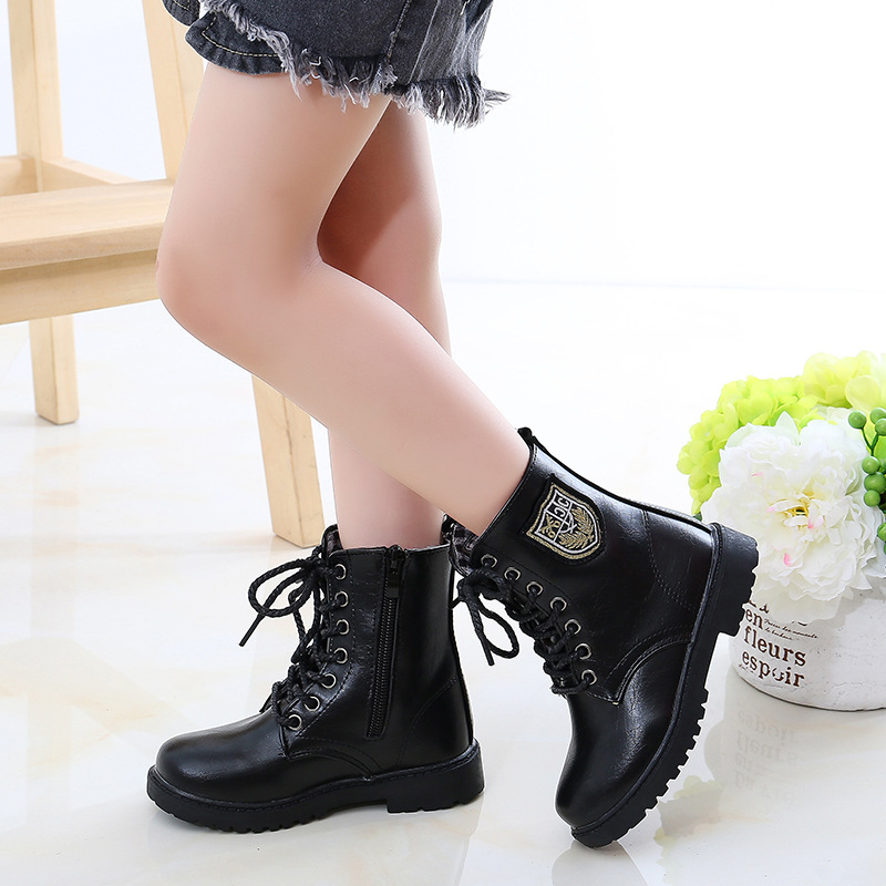 Large size 27 42 children's boots boys shoes autumn winter military boots girls single boots kids students performance shoes|Boots| |  - title=