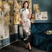 Chinese Qipao Cheongsam Satin-Dress Short-Sleeve Elegant Long Plus-Size Women 4XL Flower-Printed