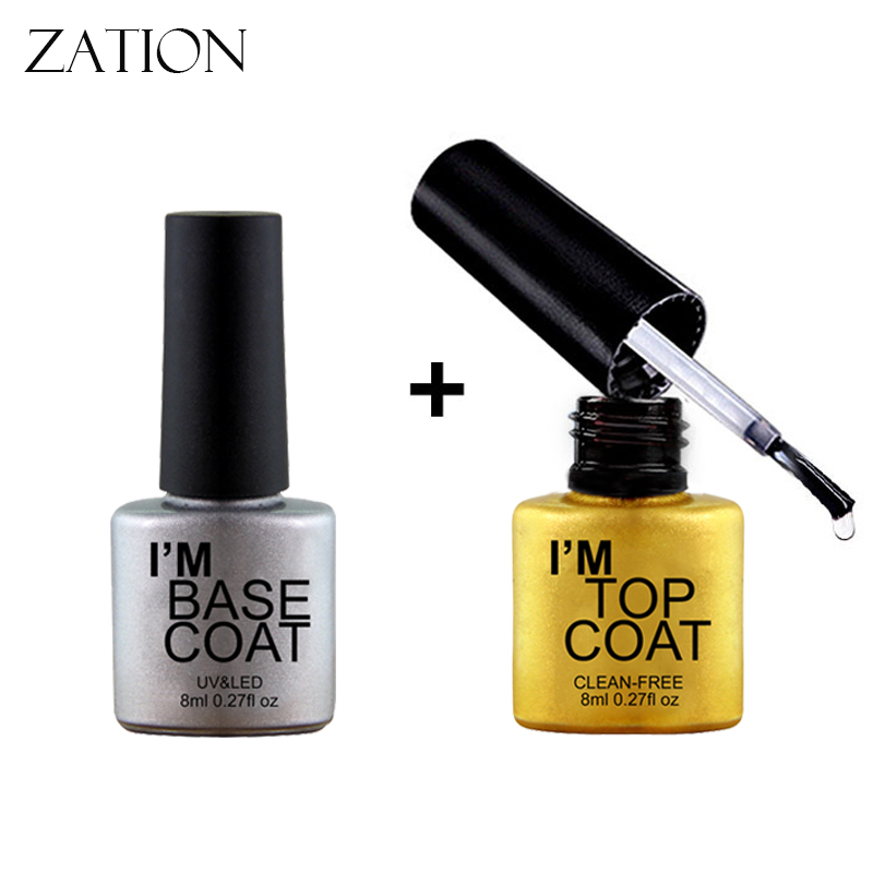 Zation Primer Gel Polish Matt Top UV LED Transparent Color Top/Base Coat Nail Gel UV LED Semi Permanent GelLak Primer Top Base