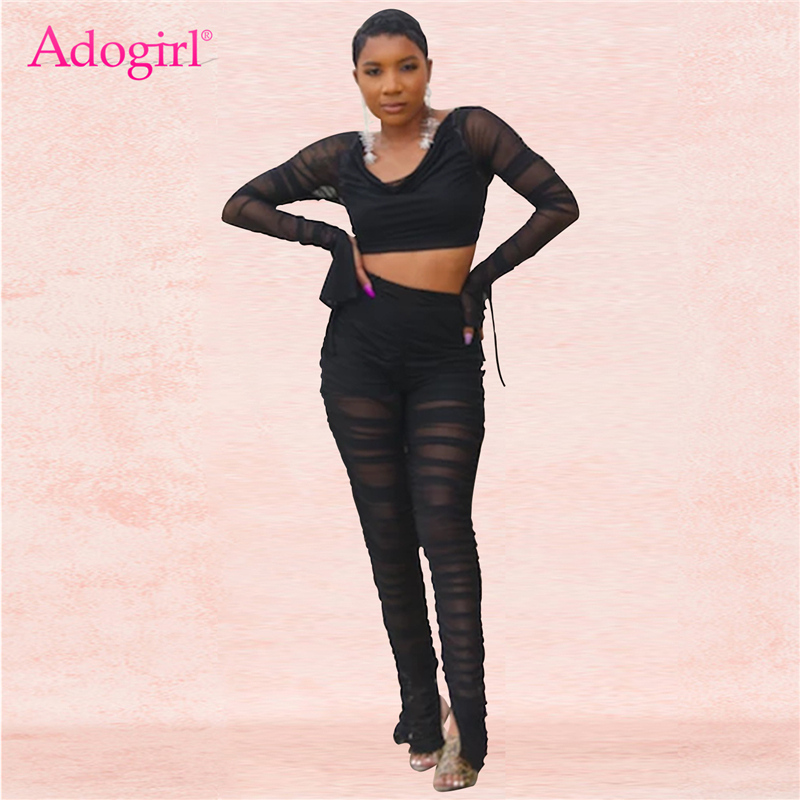 Adogirl Women Sexy Ruched Sheer Mesh Two Piece Set Off Shoulder Long Sleeve Backless Crop Top Slit Cuff Pants Night Club Outfits