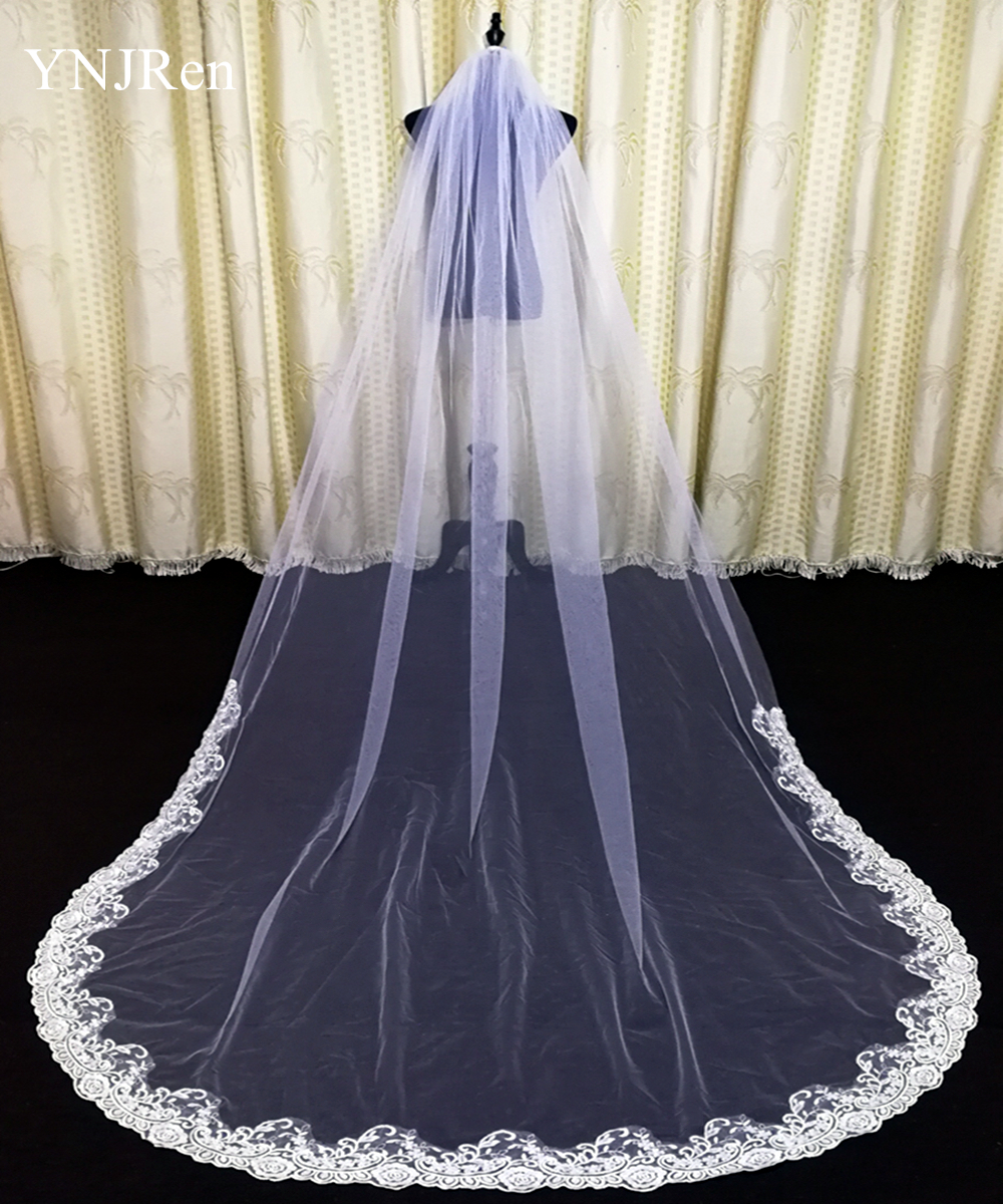 Real Photos 3Meter One Layer Lace Tulle White Ivory veil Cathedral Length Wedding Veil Bridal Veil Wedding Accessories