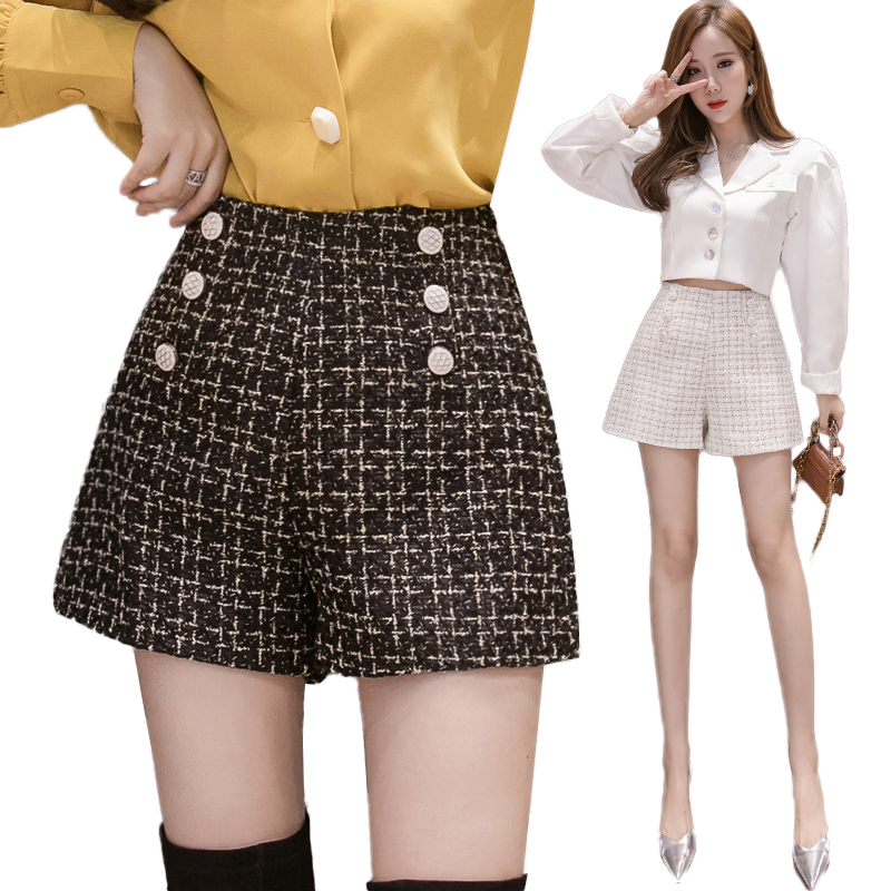 Korean Elegant Tweed Woolen Plaid Shorts Women Double-breasted High Waist Vintage Women's Shorts 2019 Autumn Winter Ladies Short