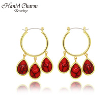 expensive large earrings white gold blue red 4 colors luxury jewelry great jewellery high quality big drop earring for women Hanile Fashion Vintage Big Circle Drop Earring for Women Turquoises Blue Red Earrings for Daily Party Jewelry Gift